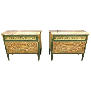 Paint Decorated Hollywood Regency Marble-Top Commodes Manner of M. Jansen, Pair For Sale