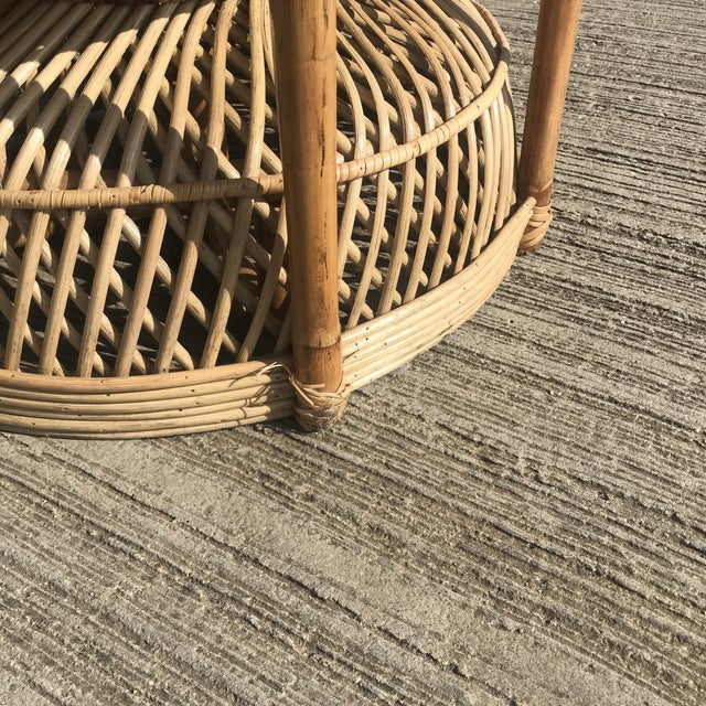 Peacock Emmanuelle High Back Wicker Throne Armchair For Sale In Dallas - Image 6 of 10