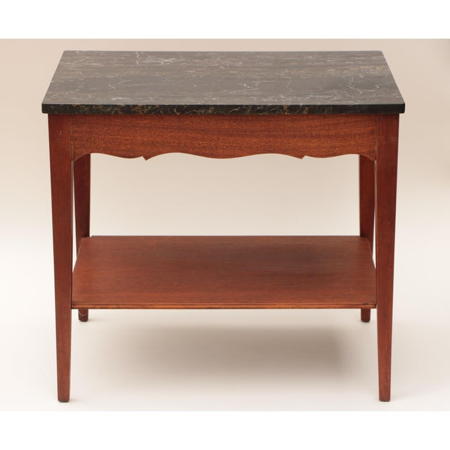 Portoro Black Marble and Mahogany SideTable For Sale - Image 5 of 11