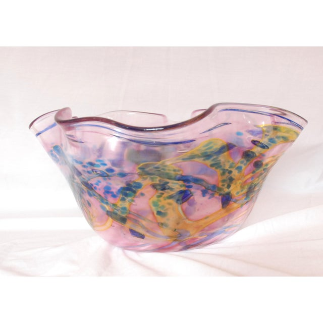 Large Multi Colored Blown Glass Art Bowl For Sale - Image 4 of 10