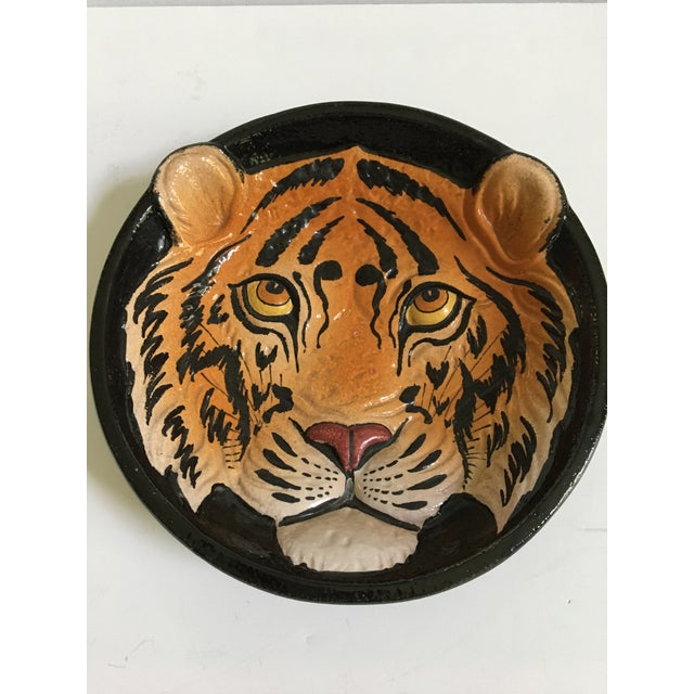 Mid-Century Modern Mid 20th Century Italian Mid-Century Tiger Face Pottery Bowl/Catchall For Sale - Image 3 of 13