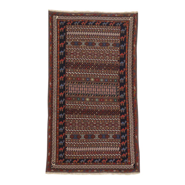 Vintage Soumak Persian Rug With Tribal Style - 3'9 X 6'10 For Sale