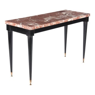 1950s Mid-Century Modern Marble Top Console Table For Sale