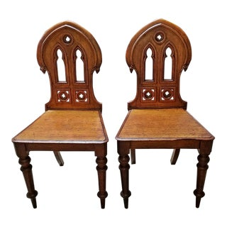 19c Pair of Walnut Gothic Revival Hall Chairs