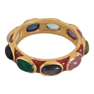 Red Enamel Ring With Semi Precious Gemstones For Sale