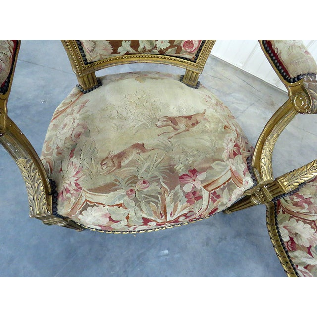 Pair of French Louis XVI Style Needlepoint Fauteuils For Sale - Image 4 of 11