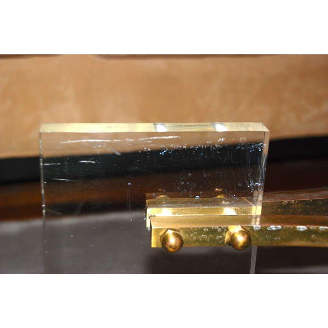 Gold Charles Hollis Jones Brass and Lucite Coffee Table For Sale - Image 8 of 10