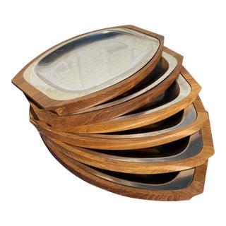 Danish Modern Teak Wood Serving Trays - Set of 6 For Sale