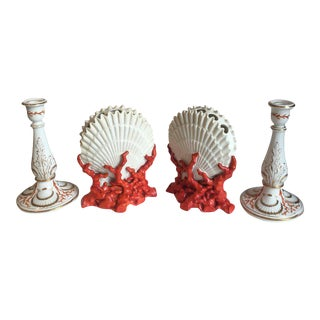 Staffordshire Coral and Shell Porcelain Bud Vases and Candlesticks - 4 Pc.