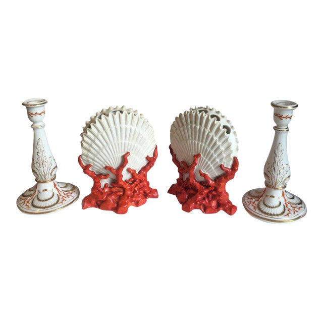 Staffordshire Coral and Shell Porcelain Bud Vases and Candlesticks - 4 Pc. For Sale