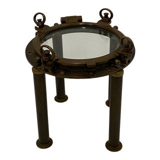 Nautical Antique Brass Porthole End Table For Sale