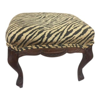 Antique French Style Small Footstool With Zebra Upholstery