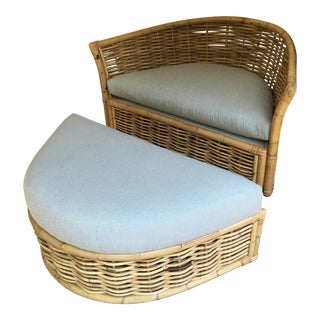 Vintage Rattan Lounger and Ottoman