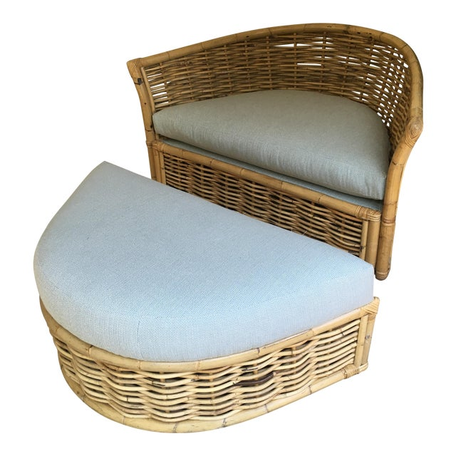 Vintage Rattan Lounger and Ottoman For Sale