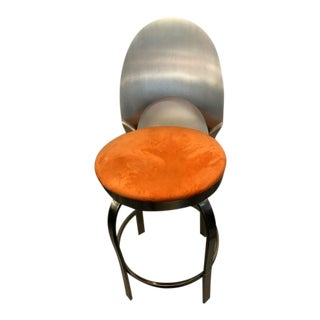 Contemporary Brushed Steel Swivel Counter Stool For Sale