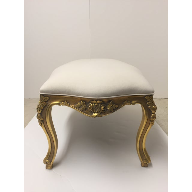 1970s 1970s Vintage French Carved Giltwood Bench For Sale - Image 5 of 8