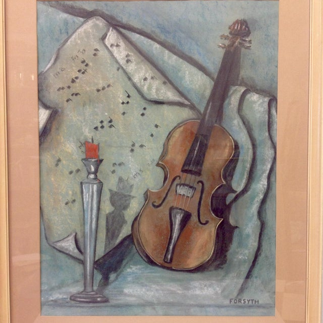 Mid-Century Modern Original Forsyth Pastel Drawing on Strathmore Paper For Sale - Image 3 of 5