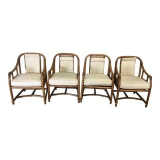 1990s Vintage Ficks Reed Bamboo Chairs - Set of 4 For Sale