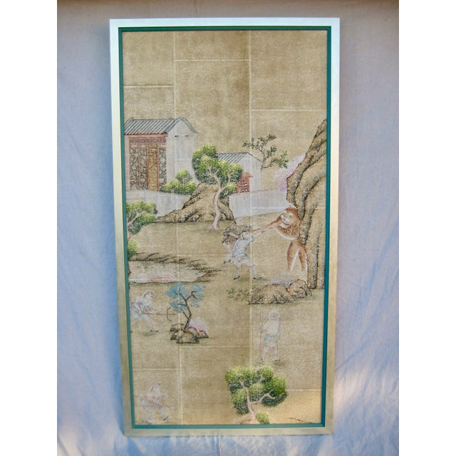 19th Century Chinese Hand Painted Wallpaper Panel, Framed For Sale - Image 13 of 13