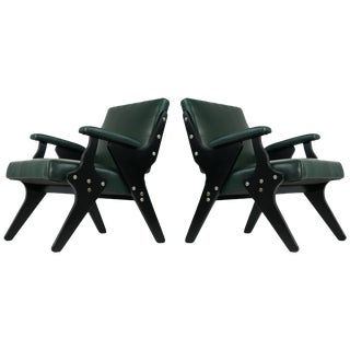 Pair of Leather Lounge Chairs by Jose Zanine Caldas, Brazil, Circa 1950 For Sale
