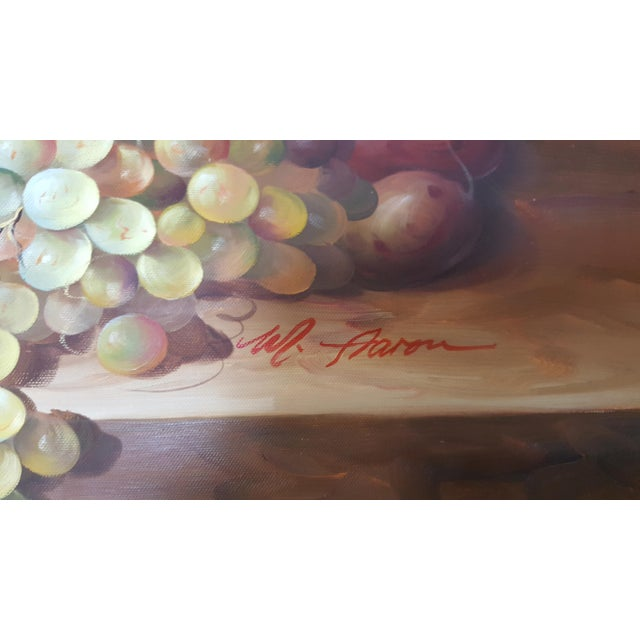 """Large Oil Painting on Canvas """" Still Life"""" Framed 41 3/8'' x 29.5"""" Signed M. AARON Beautiful color, exquisite thecnique."""