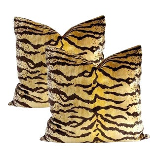 Velvet Tigre Pillows - A Pair For Sale