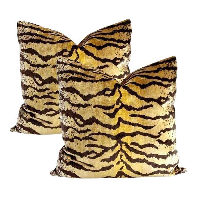Velvet Tigre Pillows - A Pair - Image 1 of 5