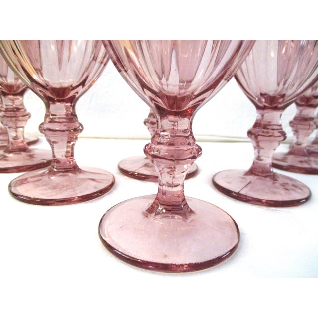 "Pretty set of eight vintage clear glass water goblets in Libbey Glass Company's ""Gibraltar"" pattern in a light plum shade...."