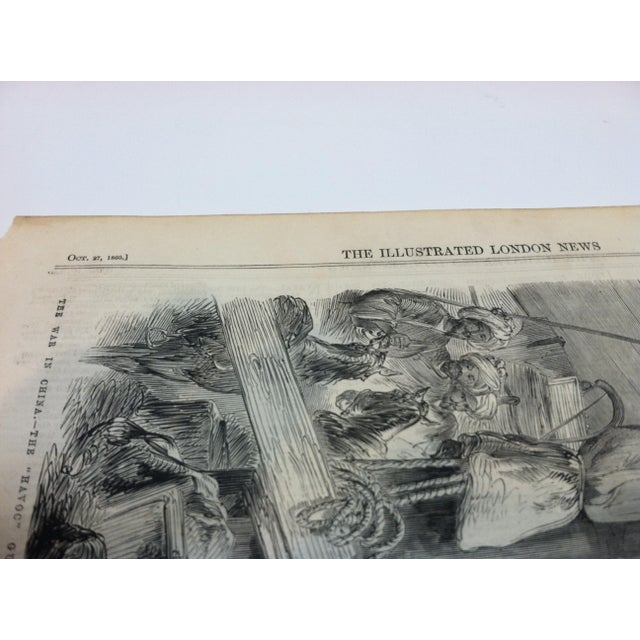 "1860 Antique Illustrated London News ""The War in China - the Havoc Gun-Boat"" Print For Sale - Image 4 of 5"