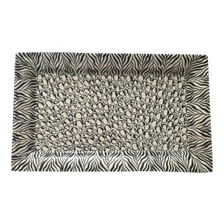 """Laurie Gates California Designs Black and White Zebra Platter With Blue Edge, 24"""" For Sale"""