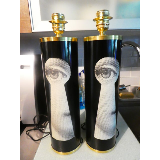 Piero Fornasetti Vintage Large Fornasetti Julia Keyhole Lamps - a Pair For Sale - Image 4 of 9