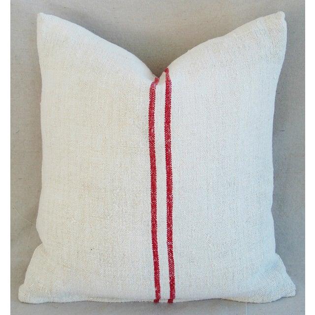 French Grain Sack Monogram Pillow - Image 7 of 7