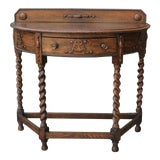 Image of Antique English Barley Twist Demi Lune Table Foyer Sofa Table Console W Drawer For Sale