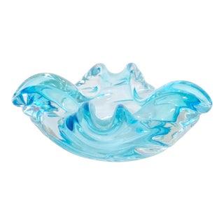 Italian Murano Glass Ashtray in Sky Blue For Sale