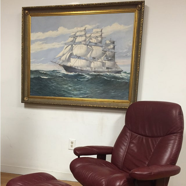 Nautical Wendell F. Collum Large Ship Painting For Sale - Image 3 of 9