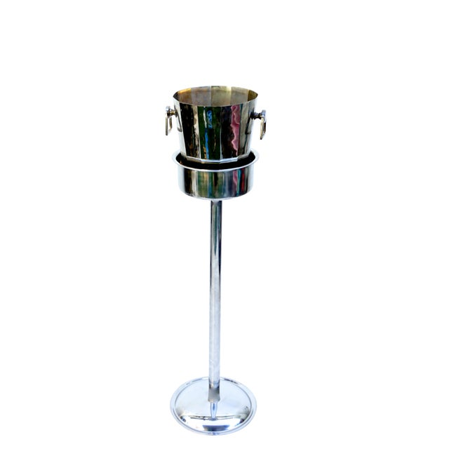 Art Deco Silver Geometric Champagne Chiller & Stand - Image 1 of 10