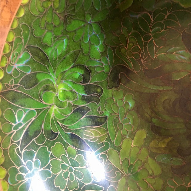1950s Green Cloisonne Catchall Bowl For Sale - Image 5 of 7