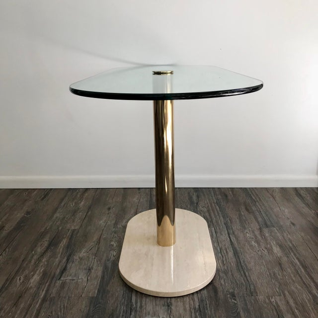 1970s Pace Collection Marble, Brass & Glass Console Table For Sale - Image 5 of 7