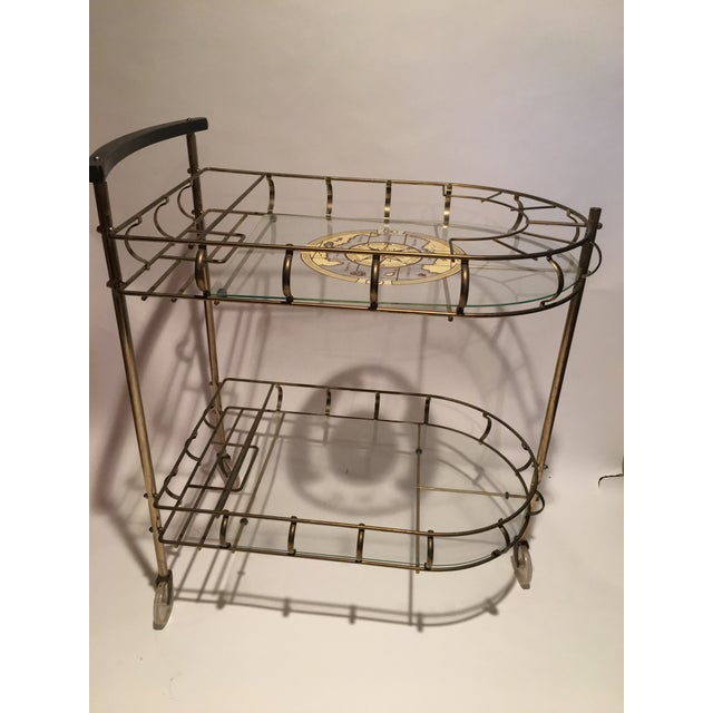 Mid-Century Brass Bar Cart With 6 Matching Glasses For Sale - Image 4 of 9