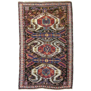 CaucasianLenkoran Shield-Palmette Rug - 4′9″ × 8′ For Sale