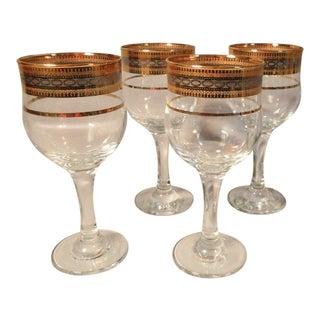1960s Vintage Turkish Crystal & Gold Rims Glasses- Set of 4 For Sale