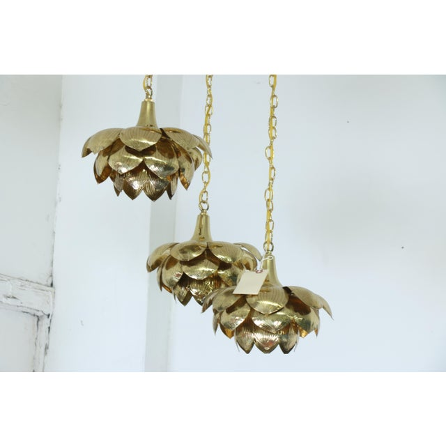 "Feldman Lighting Brass ""Lotus"" 3 Tier Pendant Light Fixture For Sale - Image 4 of 7"