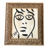 Image of Original Vintage Peter Robert Keil Abstract Face Painting 1989's Framed For Sale