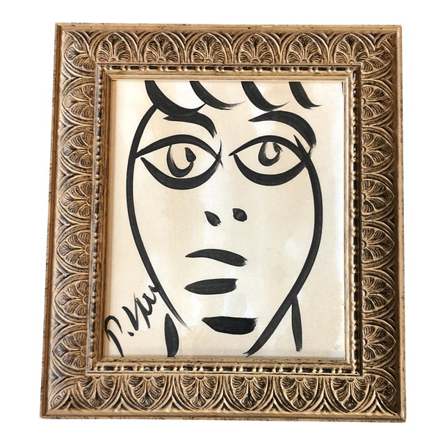 Original Vintage Peter Robert Keil Abstract Face Painting 1989's Framed For Sale