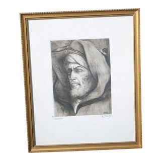 """1950s Mediterannean Etching, """"Berbere"""" Signed by Edmond Vales - Framed For Sale"""