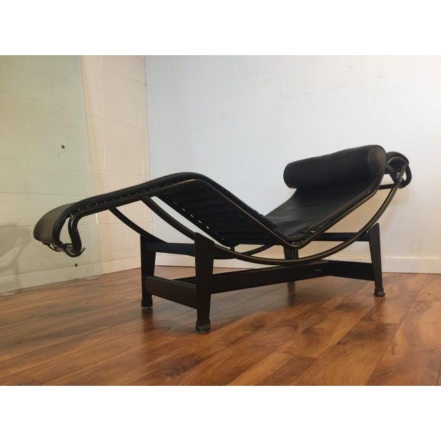 Le corbusier lc4 leather chaise lounge chairish for Chaise le corbusier lc4