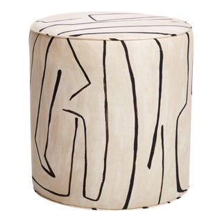 Graffito Print Upholstered Side Table For Sale