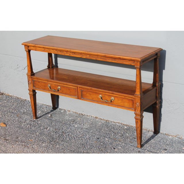 1960s 1960s Traditional Walnut 2 Drawer Hall Console Table For Sale - Image 5 of 13