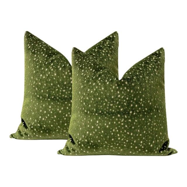 "22"" Olive Antelope Cut Velvet Pillows - a Pair For Sale"