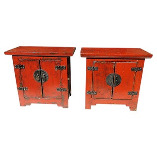 19th Century Antique Chinese Shanxi Side Cabinets - a Pair For Sale